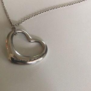 Tiffany Elsa Peretti Open Heart pendant and chain